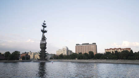 Moscow River embankment and Piter the First Monument, Russia. Action. Beautiful landscape of the historical monument in the name of Peter the Great and the sidewalk along the river.