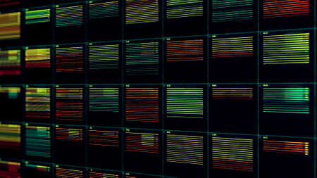 Moving bars of colorful audio equalizer, seamless loop. Animation. Complex system of an abstract music equalizer. Banco de Imagens
