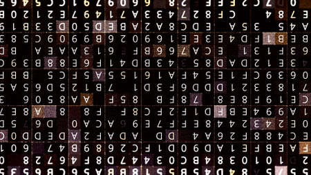 Matrix made of random letters and numbers. Animation. Abstract cognitive process concept, machine deep learning and artificial intelligence.