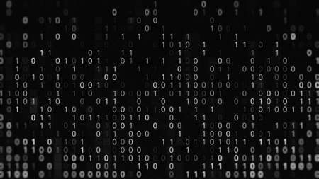 Black and white background with code zero and one. Animation. Binary code on black background. Failure in binary code system. Programming using binary code