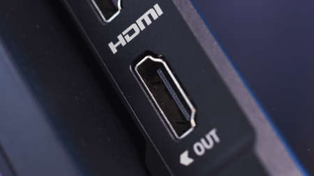HDMI connector of a device, close up view. Action. Socket for the HDMI cable, concept of electronic technologies.