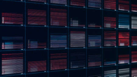 A wall of colorful short moving bars of narrow lines on black background, seamless loop. Animation. Visualization on a complex equalizer.