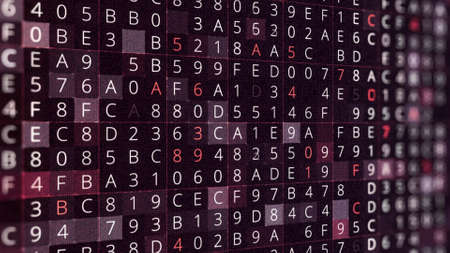 Numbers and letters abstract colorful background, seamless loop. Animation. Hacker attack, process of password selection, random numbers and symbols.