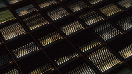 A dashboard of a volume equalizer against a black techno grid backdrop. Animation. Abstract panel with rows of changing digital data concerning sound level, seamless loop.