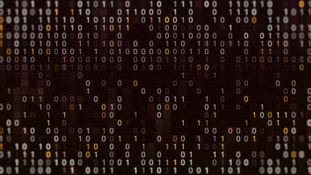 Abstract digital background of programming binary code, seamless loop. Animation. Colorful zero and one digits in wave motion on a monitor.