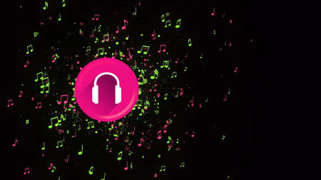 Colored headphone icon on black background. Animation. 3d headphone icon with lots of moving notes. Notes move from colored headphone icon on black background Banque d'images - 162885703