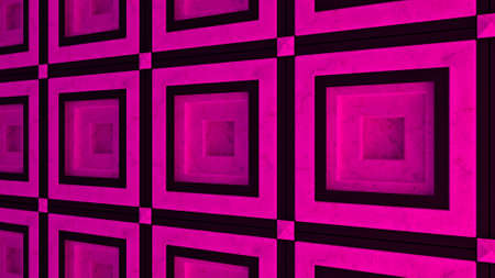 Pink and blue contrasting square plates motion background, seamless loop. Animation. Moving along an abstract wall, interior details.