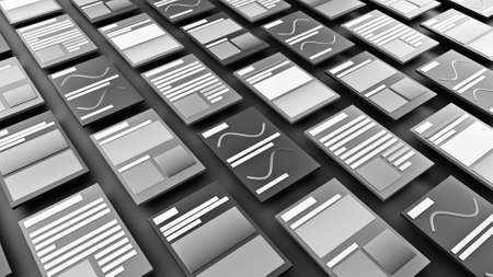 Abstract schematic view of monochrome newspapers articles. Animation. Many black and white rows of digital pages with lines and titles.