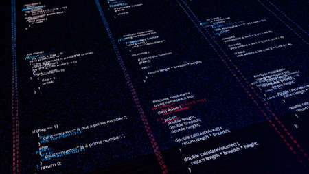 Program script of site. Animation. Changing site software code. Security hacking and changing access source code. Hacking