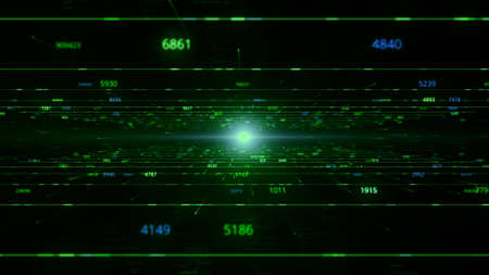 Virtual space in matrix with flying numbers and light. Animation. Cyberspace with 3D field and numbers on background of light. Movement between virtual fields to light Banco de Imagens