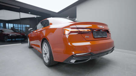 Germany, Berlin - March 2021: Exterior stylish design of car mode. Action. Stylish bright design of new car from Audi company. Shiny and bright new car color
