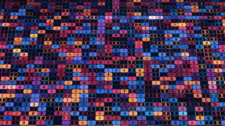 Colorful background of numeric cells. Animation. Computer background with digital cells changing values. Colorful numbers and letters changing on digital field