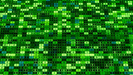 Green background of many numbers and letters. Animation. Computer background with changing values inside matrix system. Encoding security system inside matrix
