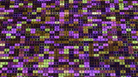 Hacking computer system with colorful background. Animation. Lot of digital cells that change values and colors. Matrix hacking background with multi-colored cells