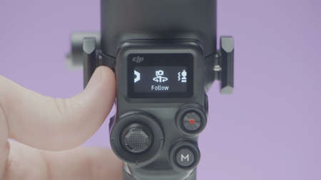Settings of stabilizer. Action. Variety of options in settings for camera. New stabilizer model with touch screen and camera settings Banco de Imagens