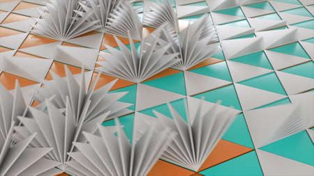 Abstract colorful triangular pages turning one by one like many small same size fans. Animation. Wave of moving triangular layers, concept of books and origami.