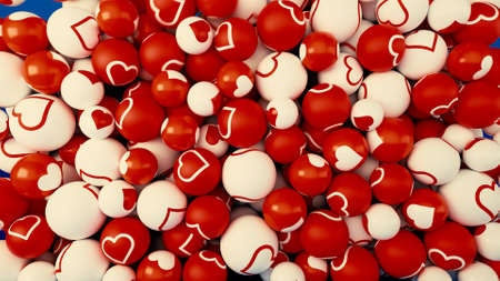 Abstract contrasting white and red balls with hearts falling down on blue background. Animation. Colorful pile of spheres. Stock fotó