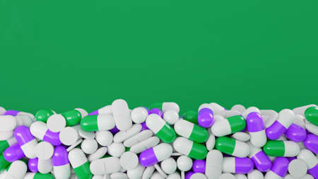 Pile of pills falls on isolated background. Animation. Drug capsules fall on isolated background. Medicines, capsules and tablets for treatment and medicine