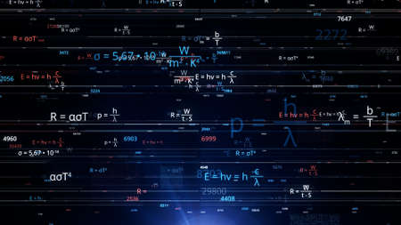 Brainstorming from mathematical equations. Animation. Burst of mathematical equations and numbers in electronic form. Neon math formulas are changing in Cyberspace