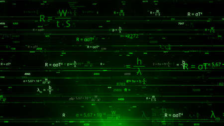 Many of mathematical formulas in matrix. Animation. Matrix network with changing mathematical equations. Cybernetic field with mathematical equations