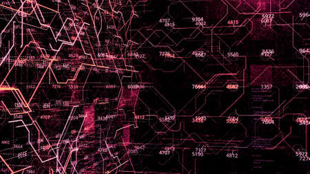 Futuristic background of numeric data and moving lines. Animation. Three-dimensional calculations with numerical values and connections from luminous lines Stok Fotoğraf