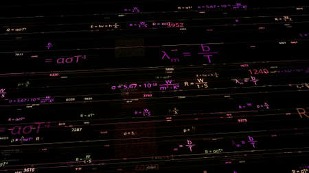 Colorful mathematical formulas. Animation. Software mathematical formulas in electronic space. Neon math formulas on dark background Stok Fotoğraf