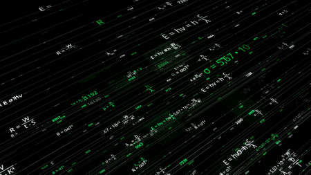 Mathematical formulas in matrix. Animation. Rewritable mathematical formulas in computer matrix networks. Scientific Foundation with Mathematical Equations Stok Fotoğraf