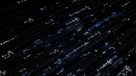 Lines with mathematical equations on black background. Animation. Glowing mathematical formulas in cyberspace. Mathematical formulas change and move on lines in electronic space
