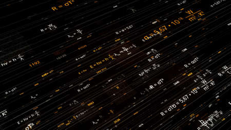 Lines with changing mathematical formulas. Animation. Electronic networks with moving mathematical formulas on dark background. Colored mathematical formulas moving along lines Stok Fotoğraf