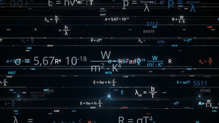 Blocks of abstract mathematical formulas are written and moved in the virtual space. Animation. The camera flies through the mathematical formulas on black background, seamless loop.