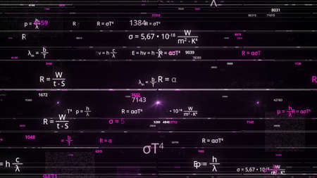 Mathematical background with flying symbols, functions and equations. Animation. Concept of learning algebra, geometry, and physics sciences, seamless loop.