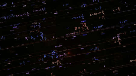 Artificial intelligence AI writing abstract math and physics formulas isolated on black background. Animation. Concept of studies and technologies, seamless loop. Stok Fotoğraf