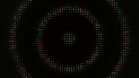 Electronic glowing circles on black background. Animation. Animation with diode circles moving on black background. Night show background with neon hypnotic rings Stock fotó