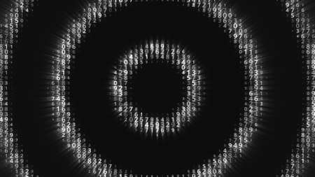 Glowing circles with numbers move on black background. Animation. Hypnotic animation with moving centralized circles of glowing numbers. Circles show numbers behind black background Stock fotó