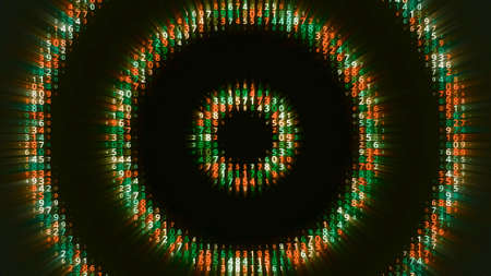 Hypnotic background of appearing circles. Animation. Hypnotic circles with numbers are immersed in matrix. Dive into matrix with hypnotic circles with numbers Stock fotó