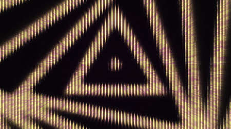 Luminous triangular pattern. Animation. Background of electronic diode pattern of moving triangular spiral. Slowly twisting triangular spiral on black background