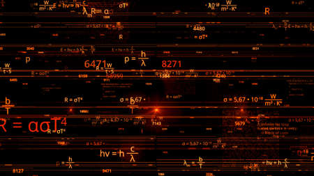 Flying through different mathematical formulas, concept of science and knowledge. Animation. Colorful scientific background showing formulas and symbols, seamless loop. Imagens