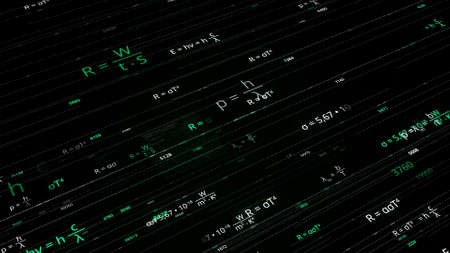Abstract pattern with a large number of formulas on a dark background. Animation. Concept of school studies and education, seamless loop.