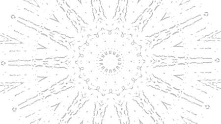 Abstract black white animated kaleidoscope pattern with a stop motion effect. Animation. Monochrome kaleidoscopic mandala on white background.