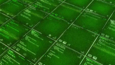 Green background with program codes in table. Animation. Computer futuristic background with appearing program codes in cells. Table or cells with matrix code Stok Fotoğraf