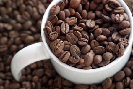 coffe bean: Una taza de caf� llena de y rodeados de granos de caf�.