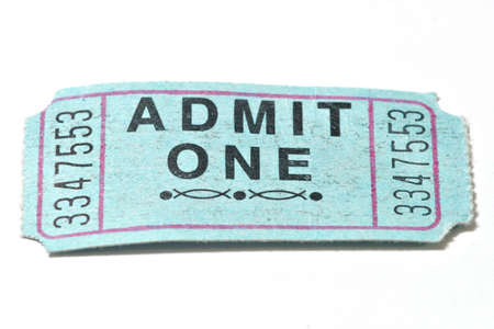 raffle ticket: Closeup shot of a generic admission ticket. Stock Photo