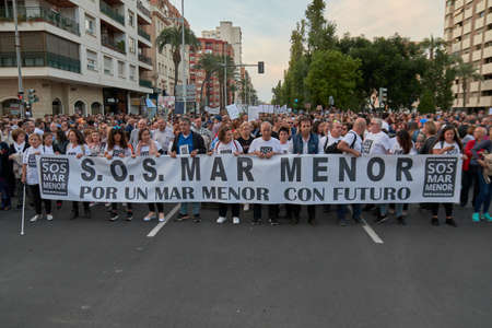 People in the manifestation in Cartagena of Spain to recover the Mar Menor after the spills that killed all the fish