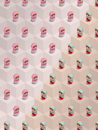Valentine background, Girls theme, Isometric pattern photographed, cute toy, Russian Matryoshka dolls on a light colored block background, wrapping paper, postcard, wallpaper Standard-Bild