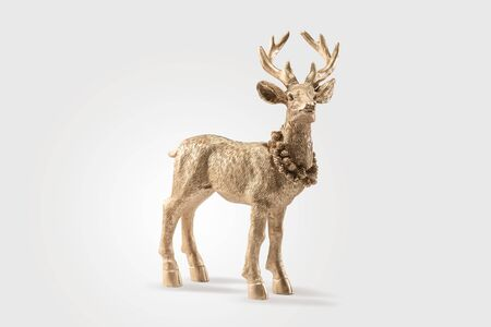 Gold Red deer, Reindeer, Christmas picture, isolated on white background, decoration, postcard, wallpaper