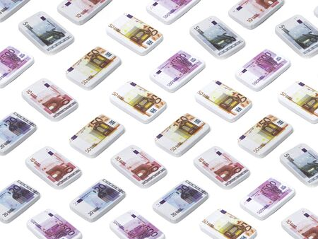 Chocolate banknote of 5, 10, 20, 50 500 euros, money, candy, sweets, Sinterklaas, typical Dutch, pattern, tile, isolated background