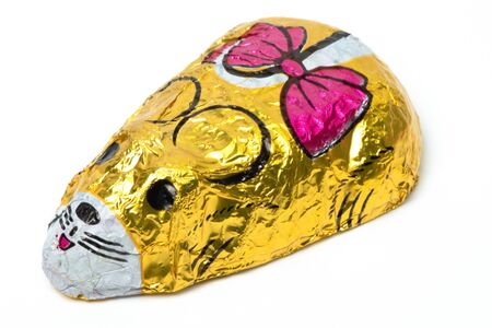 Chocolate yellow mouse, sweets, candy, Sinterklaas, typical Dutch, isolated background
