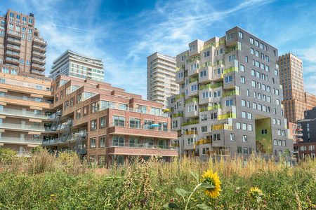 Amsterdam, De Boelelaan, The Netherlands, 08/23/2019, Modern apartments at the Zuidas in Amsterdam, luxury apartments, living, houses Editorial