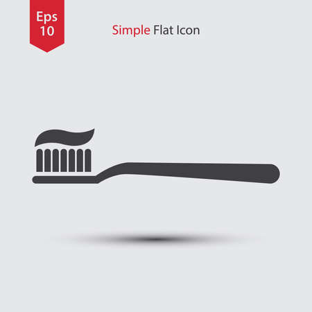 fluoride: Toothbrush Flat Icon. Simple Sign Of Health Care. Vector Illustrated Symbol