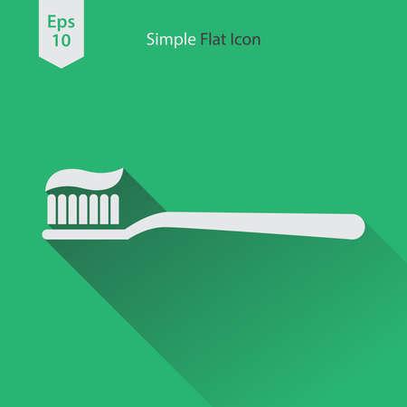 Tandenborstel Platte Pictogram. Eenvoudig Teken Van Gezondheidszorg. Vector Geïllustreerd Symbool Stock Illustratie